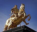 Germany, Saxony, Dresden, view to equestrian statue 'Golden Rider' - HOHF001091