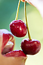 Woman eating cherries, close-up - ZEF001923