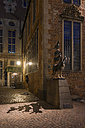Germany, Bremen, view to sculpture of Bremen Town Musicians by night - SJF000126