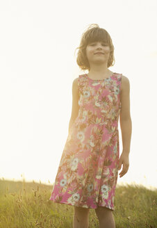 Portrait of confident girl wearing dress with floral design - MVC000135