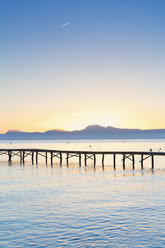 Spain, Balearic Islands, Majorca, Jetty at sunrise - MSF004345