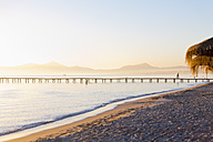 Spain, Balearic Islands, Majorca, wooden footbridge at sunrise - MSF004348