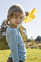 Portrait of girl with autumn leaf - OJF000063