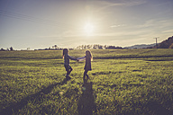 Two little girls turning around together on a meadow in backlight - SARF001007