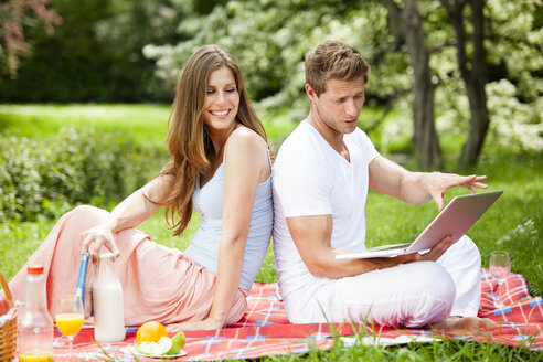 Happy couple with laptop having a picnic in park - CvK000205
