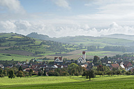 Germany, Baden-Wuerttemberg, Constance district, View to Weiterdingen, Hegau landscpae with Maegdeberg and Hohenkraehen right - ELF001379