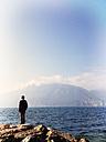 Italy, Brenzone sul Garda, boy at Lake Garda - LVF002236