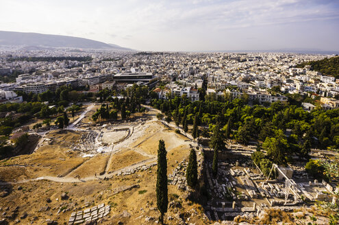 Greece, Athens, cityscape from Acropolis with excavation site - THAF000886
