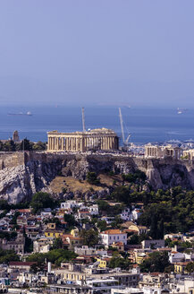 Greece, Athens, cityscape from Mount Lycabettus with Acropolis - THAF000897