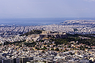 Greece, Athens, cityscape from Mount Lycabettus with Acropolis - THAF000899