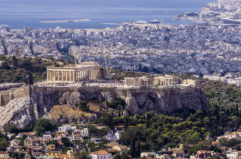 Greece, Athens, cityscape from Mount Lycabettus with Acropolis - THAF000902