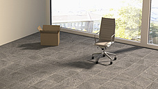 Office chair and cardboard box in empty office, 3D Rendering - UWF000250