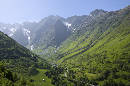 France, Central Pyrenees, Hautes-Pyrenees, View to Mountain road - LAF001209