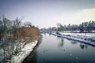 Germany, Hesse, Stockstadt  am Rhein, landscape with river in winter - PUF000299