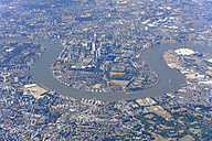 UK, London, aerial photography of the Docklands, Isle of Dogs and the River Thames - MIZF000708