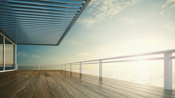 Roofed terrace of luxury residential house at the sea - UWF000255