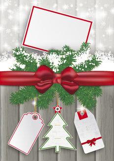 Ribbon, snow and gift tag, vector graphics - ALF000252