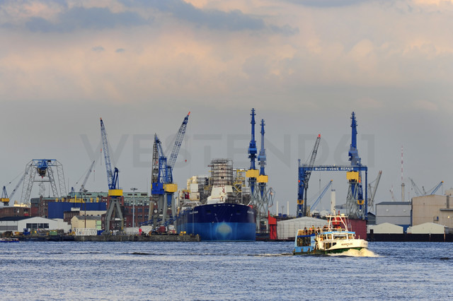 Germany, Hamburg, Steinwerder, harbor and River Elbe - MIZ000765