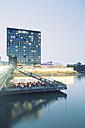 Germany, Dusseldorf, Media Harbour, Restaurant at The Living Bridge - MEMF000539