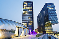 Germany, Dusseldorf, Media harbour, Pavillon at Twin Towers hotel and office building - MEM000548