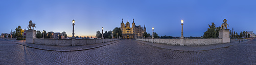 Germany, Mecklenburg-Western Pomerania, Schwerin, Schwerin Palace in the evening, 360 degree view - PVCF000202