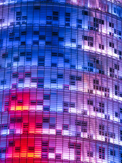 Spain, Catalonia, Barcelona, part of lighted facade of Torre Agbar - HLF000778