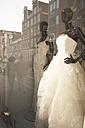 Netherlands, Amsterdam, window display with bridal fashion - FC000483