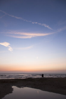 Netherlands, Bloemendaal, lovers on beach at sunset - FCF000522