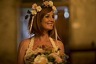 Happy bride with floral hair wreath - ZEF002583