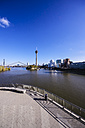 Germany, North Rhine-Westphalia, Duesseldorf, View to Rhine river, Media Harbour and Rhine tower - THAF000955