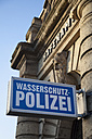 Germany, North Rhine-Westphalia, Dortmund, sign of coast guard at facade of harbour office - WI001178