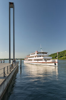 Austria, Vorarlberg, Lake Constance, Bregenz, tourboat at harbor entrance - SH001662