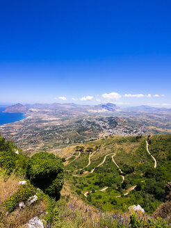 Italy, Sicily, Province of Trapani, Erice, View to the coast, Monte Cofano in the background, Nature reserve - AMF003297