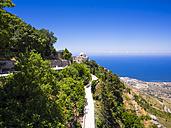 Italy, Sicily, Province of Trapani, Erice, View from Castello di Venere to Chiesa de San Giovanni - AMF003294