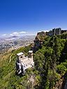 Italy, Sicily, Province of Trapani, Erice, Torretta Pepoli, Castello di Venere in the background - AMF003293