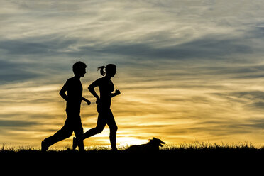 Germany, Couple jogging with dog at sunset - STSF000622