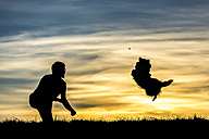 Germany, Man with dog, Silhouettes at sunset - STSF000619