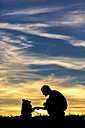Germany, Man with dog, Silhouettes at sunset - STSF000623