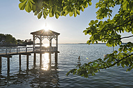 Austria, Vorarlberg, Bregenz, Lake Constance,  jetty in backlight - SH001728