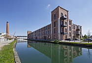Germany, Bavaria, Kolbermoor, old spinning works at Mangfall canal - SIE006300