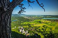 Germany, Bavaria, Allgaeu, Schangau, View to Neuschwanstein Castle, Schwansee, Weissensee, Fuessen, Hopfensee and Forggensee - WGF000532