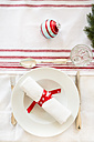 Red-white laid table at Christmas time - LVF002359