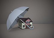 3D Rendering, White house under umbrella - ALF000258