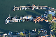 Germany, Bavaria, Lake Constance, Lindau, aerial view of marina - SHF001786