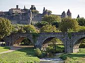 France, Aude, Carcassonne, Stone bridge and Cite de Carcassonne - HLF000788