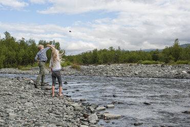 Sweden, Lapland, Norrbotten County, Abisko National Park, playing kids on Kungsleden hiking trail - JBF000146