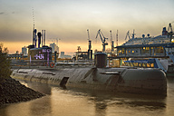 Germany, Hamburg, Russian submarine, Museum ship in the evening - RJ000363