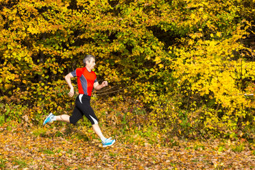 Man running in autumnal forest - STSF000637