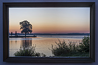 Germany, Mecklenburg-Vorpommern, Schwerin, Burggarten, picture frame with view to lake - PVCF000231