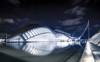 Spain, Valencia, view to lighted L'Hemisferic at City of Arts and Sciences - PU000341